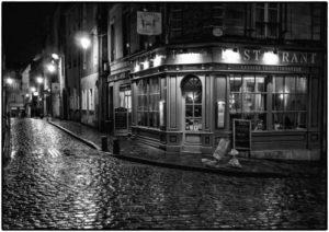 Wet Street Corner in Bayeux - Malcolm Balmer
